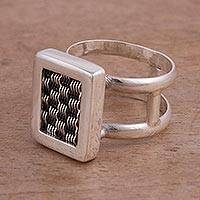 Sterling silver cocktail ring, 'Woven Dimensions' - Weave Motif Sterling Silver Cocktail Ring from Peru
