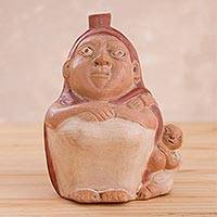 Ceramic decorative vessel, 'Mochica Mother' - Ceramic Huaco Statuette of Mother and Child