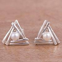 Cultured pearl stud earrings, 'Hidden Glow' - Triangular Cultured Pearl Stud Earrings from Peru