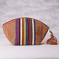 Cotton cosmetics bag, 'The Dunes of Ica' - Peruvian Loom Woven Cotton Cosmetics Bag with Striped Design