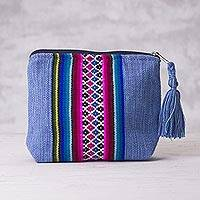 Cotton cosmetics bag, 'Dream Lake' - Peruvian Artisan Crafted Blue Striped Cotton Cosmetics Bag