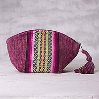 Cotton cosmetics bag, 'Sunset in the Jungle' - Loom Woven Pink Striped Cotton Cosmetics Bag from Peru