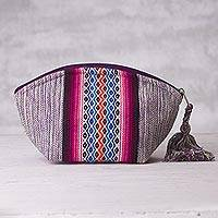 Cotton cosmetics bag, 'Violet Dream' - Purple Cotton Cosmetics Bag with Geometric Motif from Peru