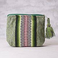 Cotton cosmetics bag, 'Inca Trail' - Hand Crafted Green Striped Cotton Cosmetics Bag from Peru