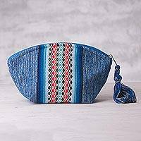 Cotton cosmetic bag, 'Island Horizon' - Cotton Blue Patterned Hand Woven Cosmetic Bag