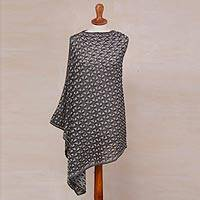 Cotton and baby alpaca blend reversible poncho, 'Flowing Geometry' - Grey Reversible Geometric Patterned Cotton Blend Poncho