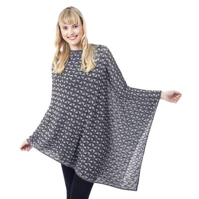 Grey Reversible Geometric Patterned Cotton Blend Poncho