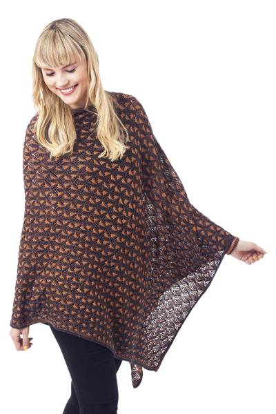 Blue Orange and Reversible Cotton Alpaca Blend Poncho