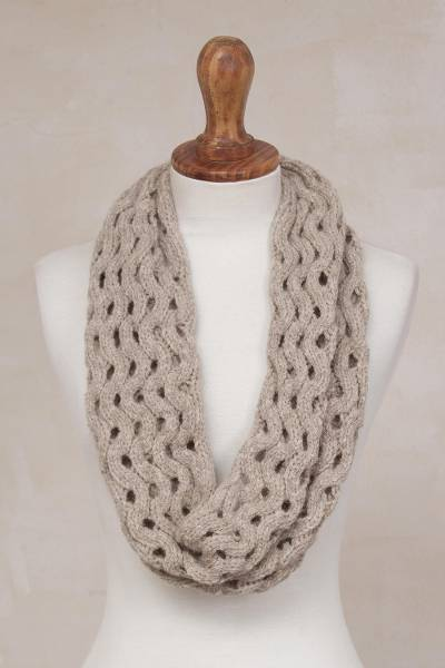 Alpaca blend infinity scarf, 'Stylish Trend in Taupe' - Zigzag Motif Alpaca Blend Infinity Scarf in Taupe from Peru