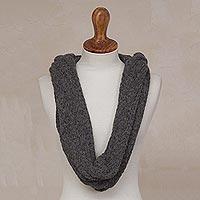 Alpaca blend hooded infinity scarf,