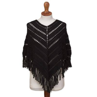 Black Alpaca Blend Hand Crocheted Fringed Poncho