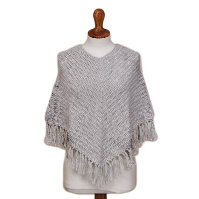 Grey Alpaca Blend Hand Crocheted Fringed Poncho