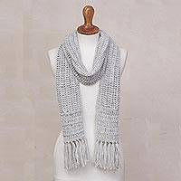 Hand-crocheted alpaca blend scarf, 'Huandoy Mountains in Pale Grey' - Hand-Crocheted Alpaca Blend Scarf in Pale Grey from Peru