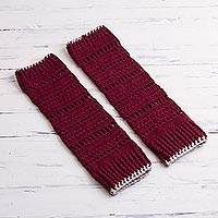 Alpaca blend leg warmers, 'Burgundy Warmth' - Crocheted Alpaca Blend Leg Warmers in Burgundy from Peru