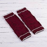 Hand-crocheted alpaca blend leg warmers, 'Inca Style in Burgundy' - Crocheted Alpaca Blend Leg Warmers in Burgundy from Peru