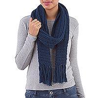 Hand-crocheted alpaca blend scarf,