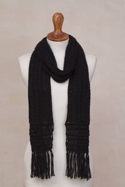 Hand-crocheted alpaca blend scarf, 'Huandoy Mountains in Black' - Hand-Crocheted Alpaca Blend Scarf in Black from Peru