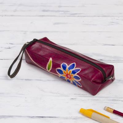 Leather pencil case, 'Qenko' - Cranberry Hand Painted Leather Pencil Case, Incan Motifs