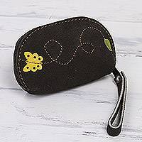 Suede coin purse, 'Butterfly Flight' - Black Suede Leather Coin Purse, Yellow Butterfly Appliqué