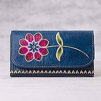 Leather wallet, 'Afternoon Bloom' - Blue Leather Tri-Fold Wallet with Hand Painted Red Flower