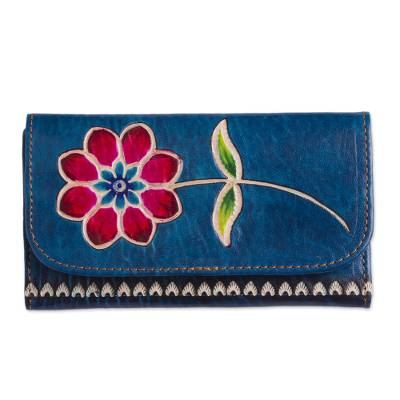 Blue Leather Tri-Fold Wallet with Hand Painted Red Flower