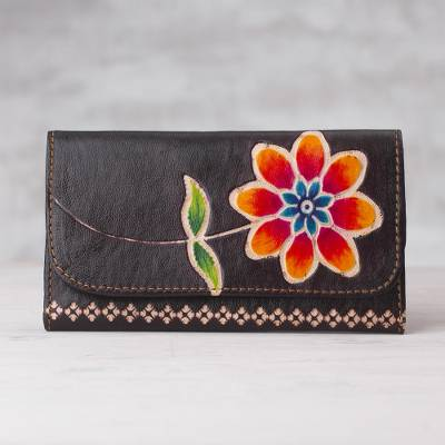 Leather wallet, 'Flower of the Earth' - Brown Leather Tri-Fold Wallet with Hand Painted Flower