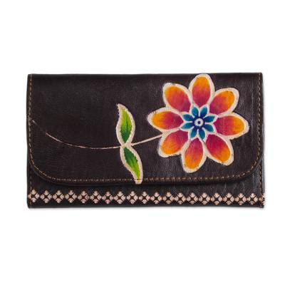 Brown Leather Tri-Fold Wallet with Hand Painted Flower