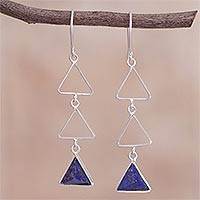 Lapis lazuli dangle earrings, 'Blue Triad' - Lapis Lazuli and Sterling Silver Dangle Earrings from Peru