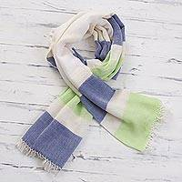 Pima cotton scarf, 'Afternoon Cheer in Green' - 100% Pima Cotton Blue, White, Green Striped Scarf