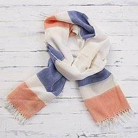 Pima cotton scarf, 'Afternoon Cheer in Orange' - 100% Pima Cotton Blue White and Orange Striped Scarf