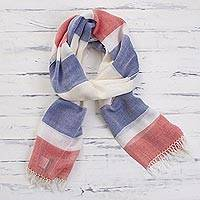 Pima cotton scarf, 'Afternoon Cheer in Red' - 100% Pima Cotton Blue, White, Red Striped Scarf