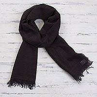 100% alpaca scarf, 'Midnight in the Andes' - 100% Alpaca Wool Fringed Scarf in Brown and Navy Color Blend