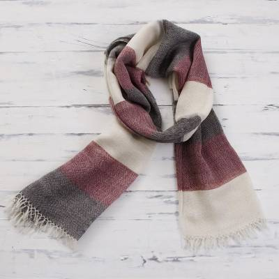 100% alpaca scarf, 'Favorite Cabernet' - 100% Alpaca Wool Dark Red Off White and Black Striped Scarf