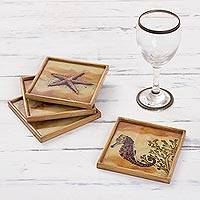 Reverse painted glass coasters, 'Sea Floor Treasures' (set of 4) - Reverse Painted Glass Sealife Coasters (Set of 4) from Peru