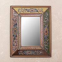 Reverse painted glass mirror, 'Colonial Reflection' - Colonial Reverse Painted Glass Wall Mirror from Peru