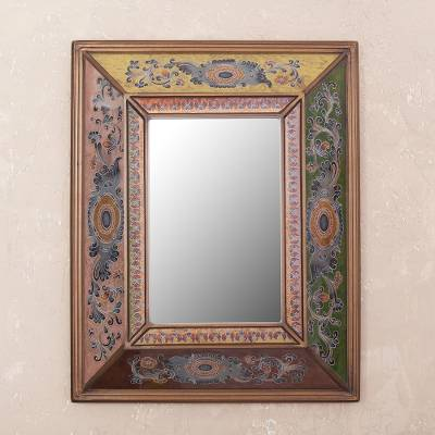 Reverse-painted glass wall mirror, 'Colonial Reflection' - Colonial Reverse-Painted Glass Wall Mirror from Peru