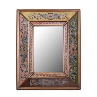 Colonial Reverse-Painted Glass Wall Mirror from Peru