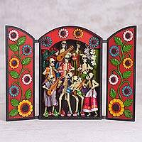 Wood and plaster retablo, 'Ancestor Party' - Día de los Muertos (Day of the Dead) Wood, Plaster Retablo