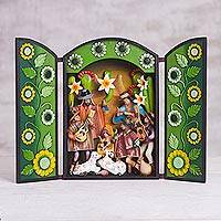 Wood and plaster retablo, 'Sunrise Nativity' - Green Wood, Plaster Andean Nativity Retablo with Musicians