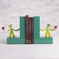 Aluminum and wood book ends, 'Literature Lover' (pair) - Green Aluminum Harlequins on Green Wood Bookends