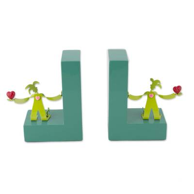 Green Aluminum Harlequins on Green Wood Bookends