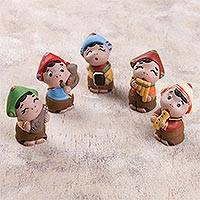 Ceramic figurines, 'Musical Andes' (set of 5) - Set of Five Musical Ceramic Figurines from Peru