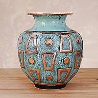 Copper and bronze decorative vase, 'Incan Windows' - Copper Vase with Incan Inspired Geometric Motifs