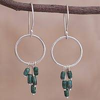 Chrysocolla dangle earrings, 'Bay Treasures' - Circular Chrysocolla Dangle Earrings from Peru