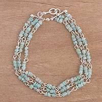 Amazonite link bracelet, 'Jungle Road' - Three-Strand Amazonite Link Bracelet from Peru