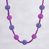 Long crocheted necklace, 'Exuberant' - Fuchsia, Blue and Purple Hand Crocheted Long Necklace