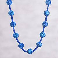Long crocheted necklace, 'Bountiful Blue' - Royal Blue and Turquoise Hand Crocheted Long Necklace
