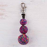 Crocheted key chain, 'Kaleidoscope Trio' - Hand Crocheted Multi-Color Key Chain