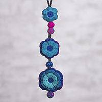 Reversible crocheted pendant necklace, 'Floral Overflow' - Colorful Reversible Flower Hand Crocheted Pendant Necklace