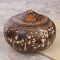 Gourd jewelry box, 'Mantaro Valley' - Hand Carved Gourd Jewelry Box with Andean Pastoral Scene